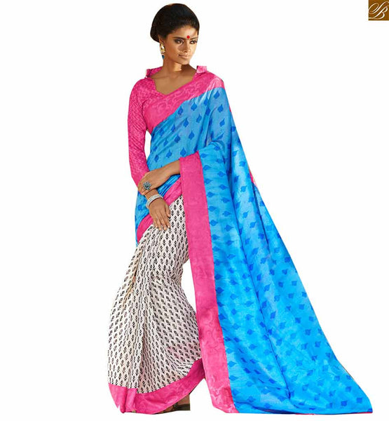 Image of Gorgeous looking half saree and new blouse patterns matching off-white and sky blue bhagalpuri silk half and half printed saree with pink silk designer blouse