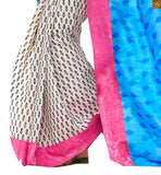 Image of Off-white and sky blue bhagalpuri silk half and half printed saree with pink silk designer blouse