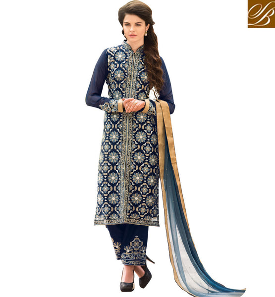 PICS OF FRONT AND BACK NECK DESIGNS OF SALWAR-KAMEEZ PATTERN STRAIGHT CUT LONG DRESSES 2015 BEST MACHINE EMBROIDERY DESIGNS DESIGNER SUITS AT AFFORDABLE RATE