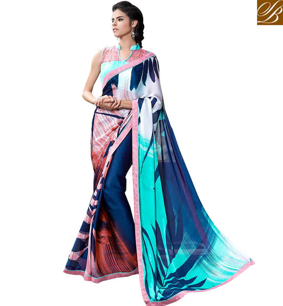 BROUGHT TO YOU BY STYLISH BAZAAR CAPTIVATING PRINTED PARTY WEAR SAREE BLOUSE DESIGN RTMEN306
