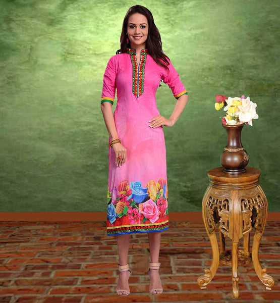 BUY LONG KURTI ONLINE INDIA AT AFFORDABLE RATE PERFECT PINK COTTON WEAR KURTI WITH FLORAL EMBROIDERY