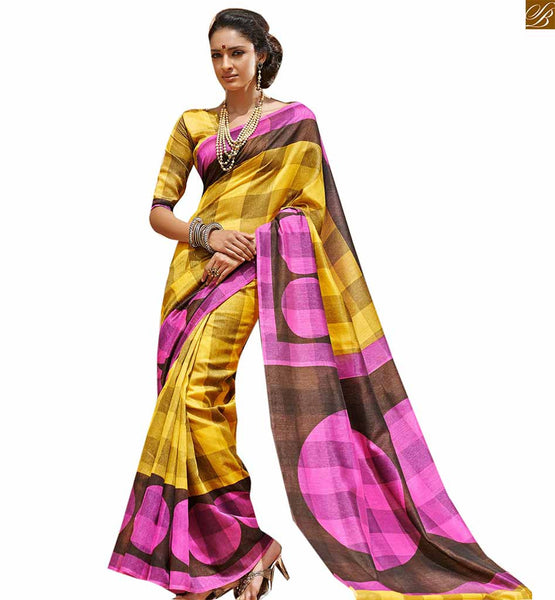 Image of Latest saree designs 2015 best loking blouse patterns collection yellow bhagalpuri silk amazing indian printed saree with latest matching blouse online shopping