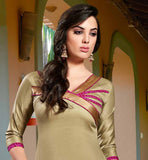 NICE COLOR CONTRAST DRESS MATERIAL WITH BEIGE TOP AND PINK PATIALA
