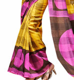 Image of Yellow bhagalpuri silk amazing indian printed saree with latest matching blouse online shopping