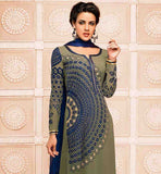 AMAZING OLIVE GREEN STRAIGHT PATTERN SALWAR SUIT