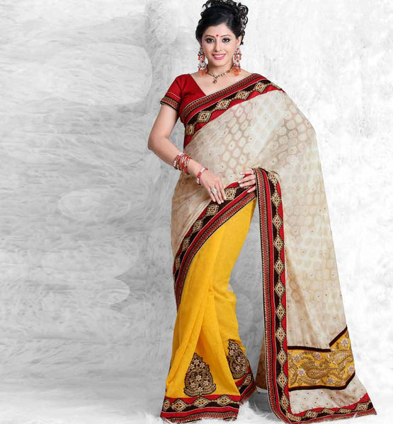 ENTICING CREAM & YELLOW ART-SILK SARI RTCHA307