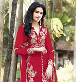 TRENDY RED PARTY WEAR SALWAR SUIT WITH MATCHING DUPATTA