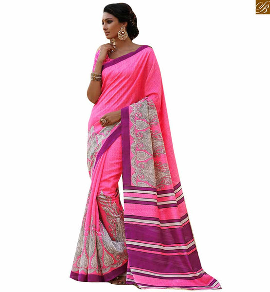 Image of New saree design 2015 smart combination of lovely blouse model pink bhagalpuri silk kerry n floral type printed saree with pink silk designer blouse online shop
