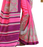 Image of Pink bhagalpuri silk kerry n floral type printed saree with pink silk designer blouse online shop