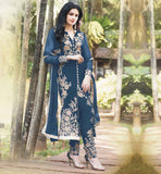 GRACEFUL DESIGNER CUT FASHION SALWAR KAMEEZ  BRILLIANT GEORGETTE KAMEEZ WITH EMBELLISHED SANTOON BOTTOM AND LACE BORDER ODHNI