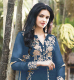 BRILLIANT GEORGETTE KAMEEZ WITH EMBELLISHED SANTOON BOTTOM AND LACE BORDER ODHNI WEAR THIS EXCITING DESIGN DRESS FROM STYLISHBAZAAR AND WIN HEARTS