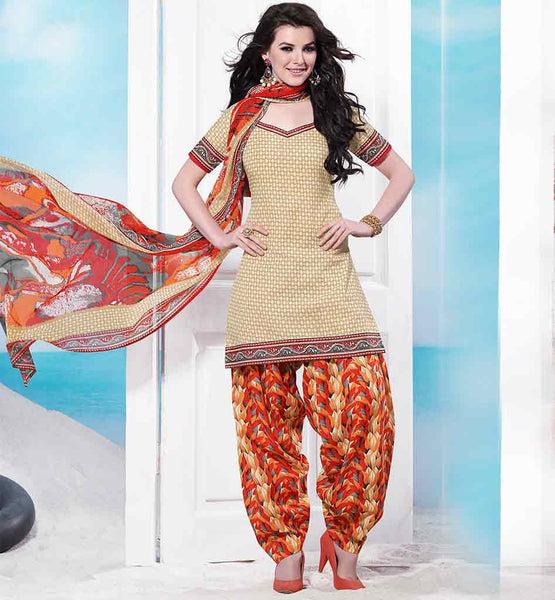 SHALWAR KAMEEZ DESIGNS OF INDIAN DRESS CHURIDAR KURTA PATIALA TYPE SHORT SUIT WONDERFUL BEIGE COTTON KURTI WITH ORANGE PRINTED SALWAR AND CHIFFON DUPATTA