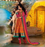 Pink and Orange Faux Georgette Salwar kameez with Patch Work and Lace Work