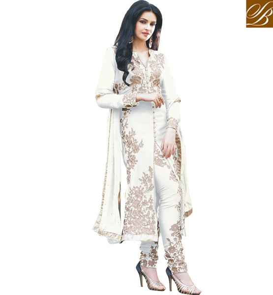 WONDERFUL SALWAR KAMEEZ  ONLINE SHOPPINGDAZZLING WHITE PARTY WEAR GEORGETTE KAMEEZ WITH COMPLEMENTING SALWAR AND ODHNI