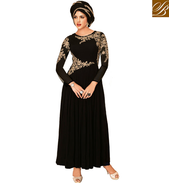 PARTY WEAR SALWAR KAMEEZ BLACK GEORGETTE DRESS WITH ROSE EMBROIDERY