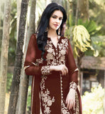 LOVELY EMBROIDERED BROWN SALWAR KAMEEZ WITH MATCHING ODHNI