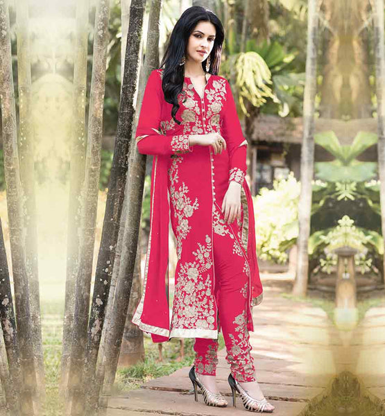 AESTHETIC 2015 FASHION PARTY WEAR SALWAR SUIT WITH CHIFFON DUPATTA RTJAN308PK