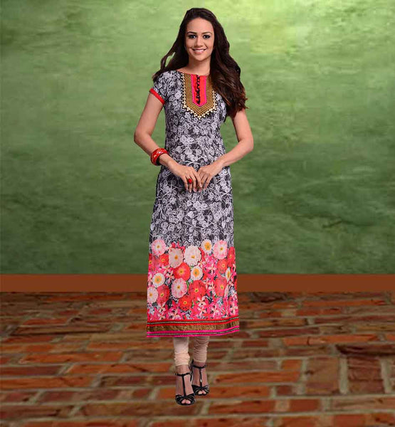 STYLISH BAZAAR COTTON KURTIS ONLINE SHOPPING BEWITCHING BLACK COZY FABRIC LONG PRINTED KURTI FOR MODERN WOMEN