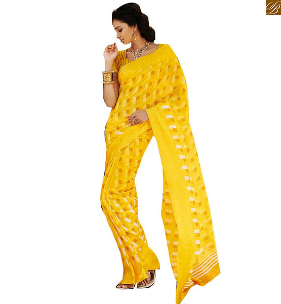 Image of Saree design patterns with latest model blouses of current fashion yellow bhagalpuri silk checks printed saree with yellow designer blouse of current fashion trend