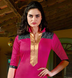 TRENDY PINK PUNJABI DRESS WITH GREY PATIALA AND PRINTED DUPATTA