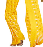 Image of Yellow bhagalpuri silk checks printed saree with yellow designer blouse of current fashion trend