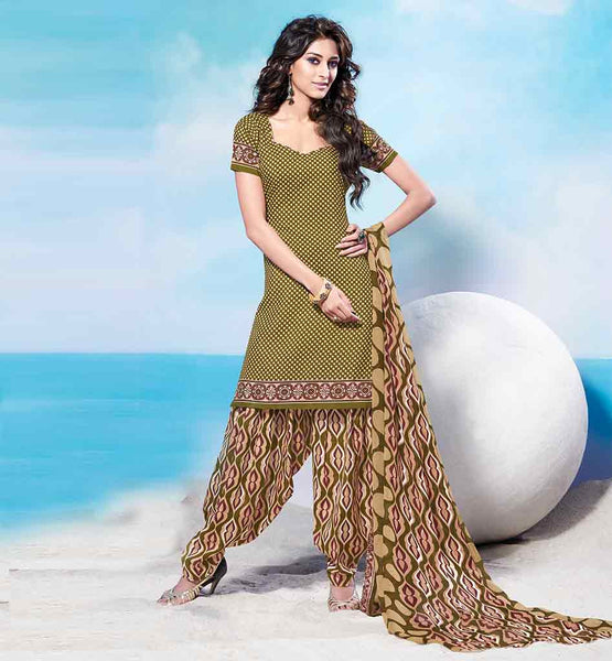 SHALWAR KAMEEZ DESIGNS OF LONG FULL LENGTH DESI FASHION PATIALA STYTLE PUNJABI DRESS  WONDERFUL BEIGE COTTON KURTI WITH ORANGE PRINTED SALWAR AND CHIFFON DUPATTA