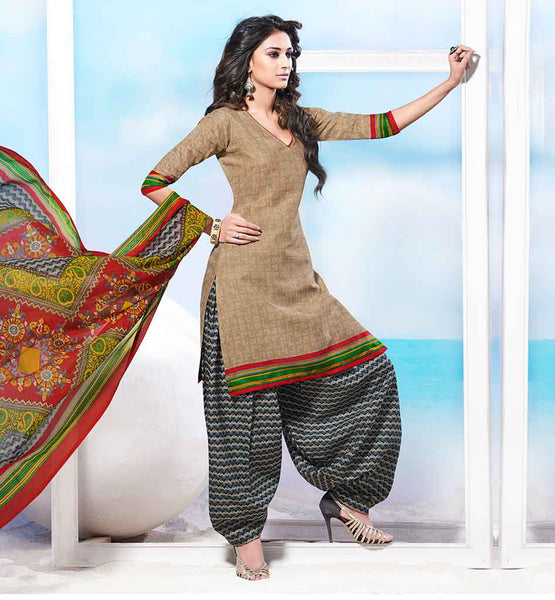 SHALWAR KAMEEZ DESIGNS WITH STYLISH LONG FULL LENGTH PATTERN FOR SUITS FOR WOMEN  AMAZING BEIGE COTTON KURTI WITH GREY PRINTED SALWAR AND CHIFFON DUPATTA