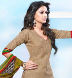 AMAZING BEIGE COTTON KURTI WITH GREY PRINTED SALWAR AND CHIFFON DUPATTA CREATE A LASTING IMPRESSION IN BUDGET FRIENDLY RATE BY WEARING THIS EXCITING SUIT