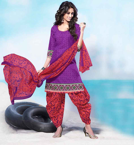 SHALWAR KAMEEZ DESIGNS PARTY WEAR PATIALA STYLE INDIAN DRESS FOR WOMEN FANTASTIC DARK PURPLE COTTON KURTI WITH SUPERB PRINTED SALWAR AND CHIFFON DUPATTA