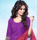 FANTASTIC DARK PURPLE COTTON KURTI WITH SUPERB PRINTED SALWAR AND CHIFFON DUPATTA MAKE YOUR EVERYDAY OUTINGS A STYLISH AFFAIR BY WEARING THIS SMART PRINT WORK DRESS