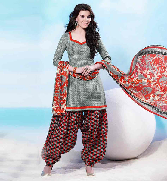 SHALWAR KAMEEZ DESIGNS OF STYLISH INDIAN DESIGNER WEAR LADIES DRESSES 2015 BRILLIANT GREY COTTON KURTI WITH EXCITING PRINTED SALWAR AND CHIFFON DUPATTA