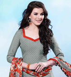 BRILLIANT GREY COTTON KURTI WITH EXCITING PRINTED SALWAR AND CHIFFON DUPATTA THE KAMEEZ HAS DELICATE ORANGE COLOR LACE ON NECKLINE AND HEMLINE