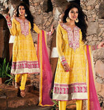 Yellow and Pink Faux Georgette Salwar kameez with Patch Work and Lace Work 1297