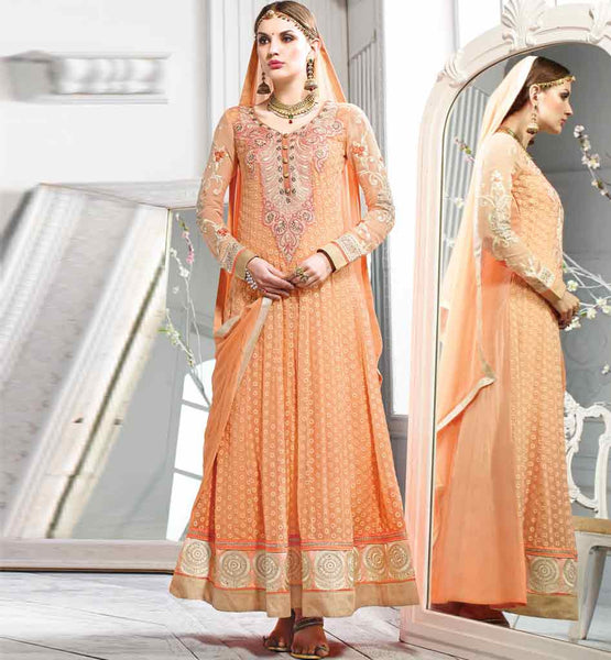 BUY ONLINE HIGH FASHION PURE GEORGETTE FLOOR LENGTH ANARKALI SUITS
