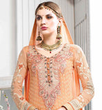 pure georgette wedding wear orange anarkali salwar kameez dress