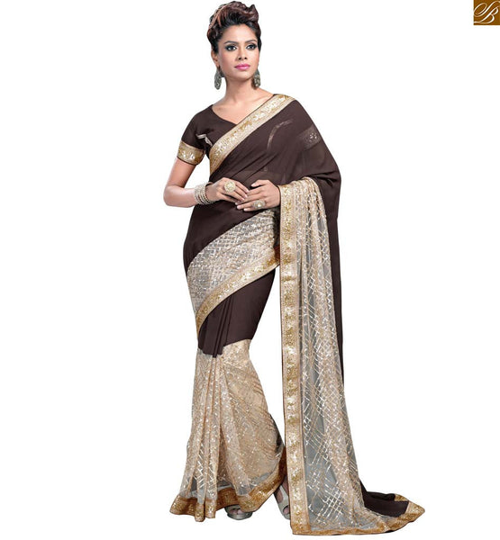 STYLISH BAZAAR TANTALIZING CREAM AND COFFEE SAREE FUSED WITH COFFEE BLOUSE RTVL31