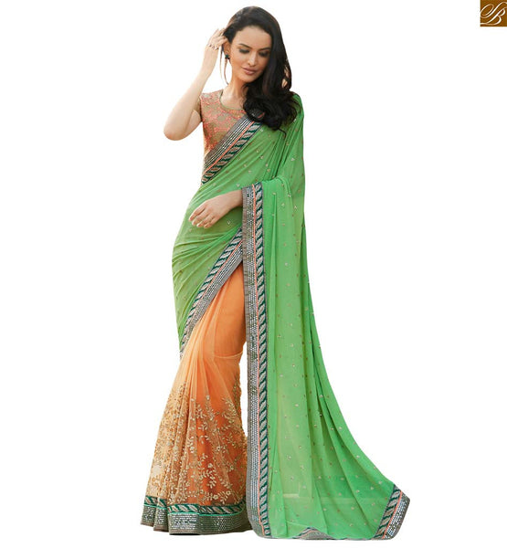 STYLISH BAZAAR GREEN AND ORANGE GEORGETTE AND NET EMBROIDERED DESIGNER SAREE ANOB31