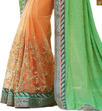 FROM THE HOUSE OF STYLISHBAZAAR GREEN AND ORANGE GEORGETTE AND NET EMBROIDERED DESIGNER SAREE ANOB31