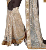 FROM THE HOUSE OF STYLISH BAZAAR TANTALIZING CREAM AND COFFEE SAREE FUSED WITH COFFEE BLOUSE RTVL31