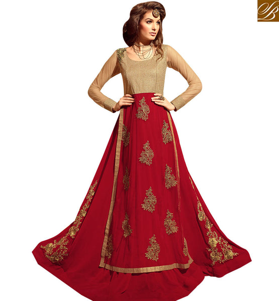 STYLISH BAZAAR APPEALING RED COLORED ANARKALI STYLE FESTIVAL WEAR SUIT SLMSH3101