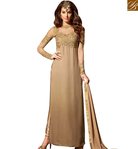 STYLISH BAZAAR TEMPTING BEIGE COLORED DESIGNER SUIT WITH ATTRACTIVE EMBROIDERED WORK SLMSH3102