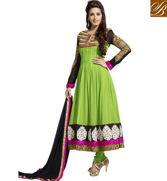 NEW ANARKALI NECK DESIGNS OF BOLLYWOOD FASHION WEAR ONLINE | STYLISH DESIGNING ON NECK BACK AND SLEEVES IS IN TREND.TOP CLASS BOLLYWOOD CELEBRITIES ALSO PREFER TO WEAR DESIGNER DRESSES