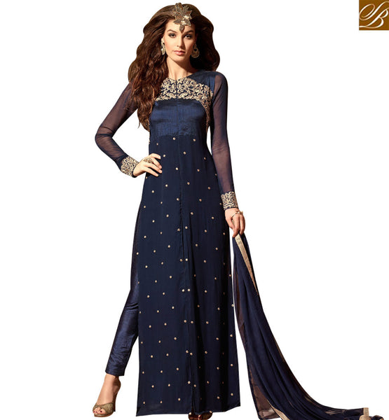 STYLISH BAZAAR ALLURING NAVY BLUE COLORED DESIGNER SALWAR KAMEEZ SLMSH3103