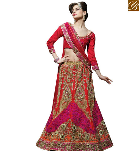 STYLISH BAZAAR APPRECIATING MAROON SILK NET HEAVY EMBEDDED DESIGNER BRIDAL LEHENGA CHOLI SLMN3104