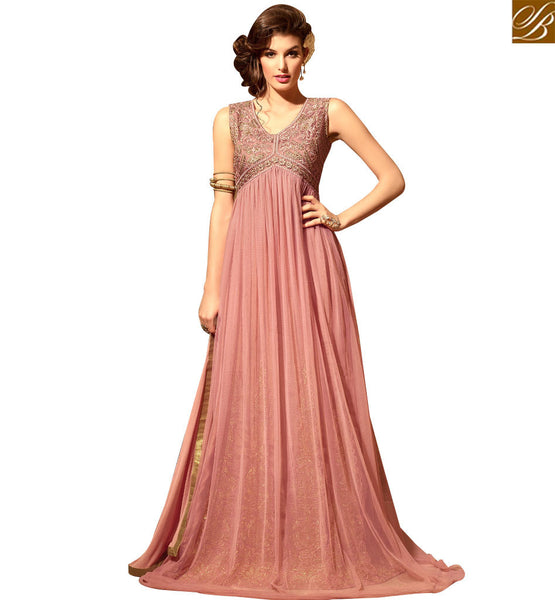 STYLISH BAZAAR ENGAGING PINK COLORED ANARKALI DESIGNER SUIT SLMSH3104