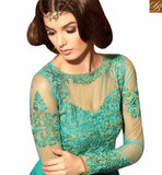 STYLISH BAZAAR PRESENTS CHARMING SEA GREEN COLORED DESIGNER SUIT WITH ATTRACTIVE EMBROIDERED WORK SLMSH3105