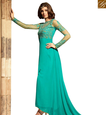 STYLISH BAZAAR CHARMING SEA GREEN COLORED DESIGNER SUIT WITH ATTRACTIVE EMBROIDERED WORK SLMSH3105