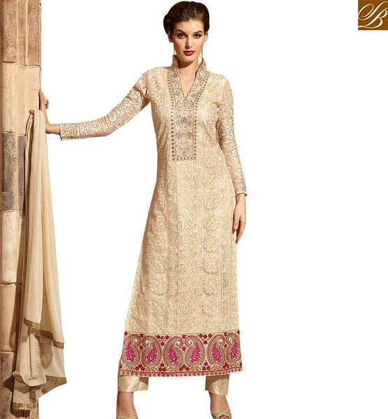 STYLISH BAZAAR STUNNING CREAM COLORED SUIT WITH EYE CATCHING EMBROIDERY WORK SLMSH3106