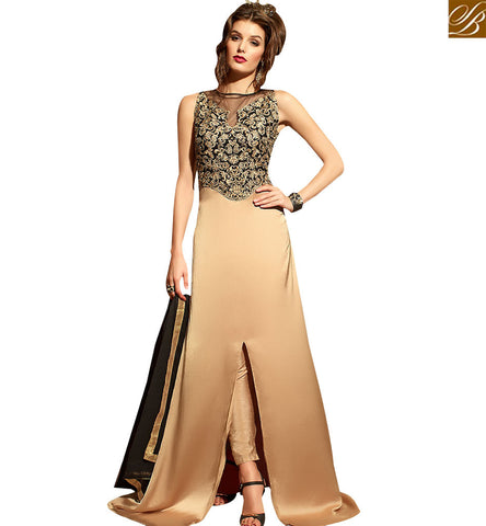 STYLISH BAZAAR IDEAL BEIGE COLORED WEDDING WEAR DESIGNER SUIT WITH GLITTERING EMBROIDERY WORK SLMSH3107