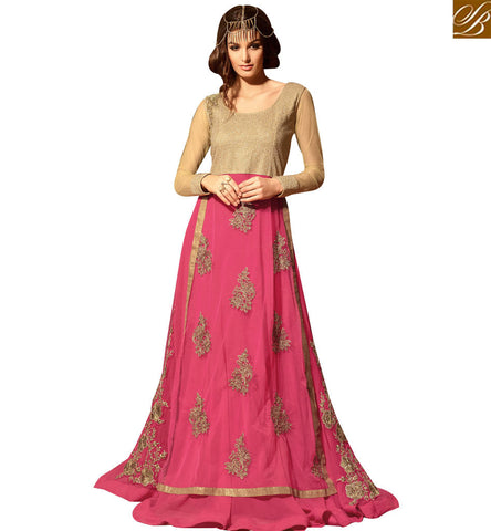 STYLISH BAZAAR FABULOUS PINK COLORED ANARKALI STYLE SALWAR KAMEEZ SLMSH3108